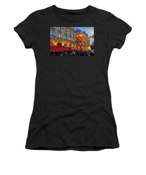 The Boulevard Saint Michel At Dusk In Paris, France Women's T-Shirt (Athletic Fit)
