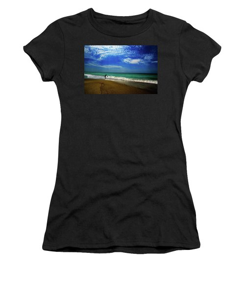 Women's T-Shirt (Junior Cut) featuring the photograph The Boy At The Beach  by John Harding