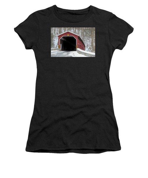 The Colemansville Covered Bridge In Winter Women's T-Shirt