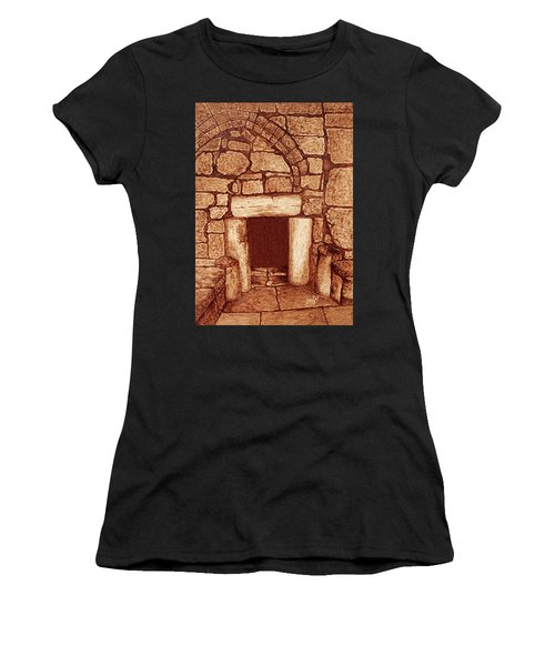 Women's T-Shirt (Athletic Fit) featuring the painting The Door Of Humility At The Church Of The Nativity Bethlehem by Georgeta Blanaru