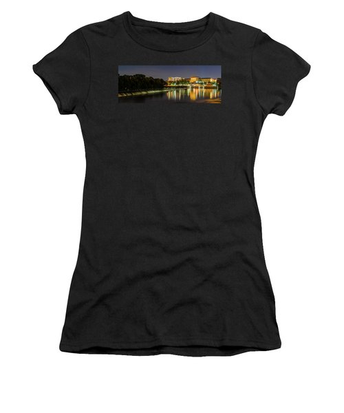 Women's T-Shirt featuring the photograph The Fairmount Dam And Art Museum At Night Panorama by Bill Cannon