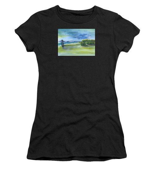 The Gray Man Visits Pawleys Island Sc Women's T-Shirt (Athletic Fit)