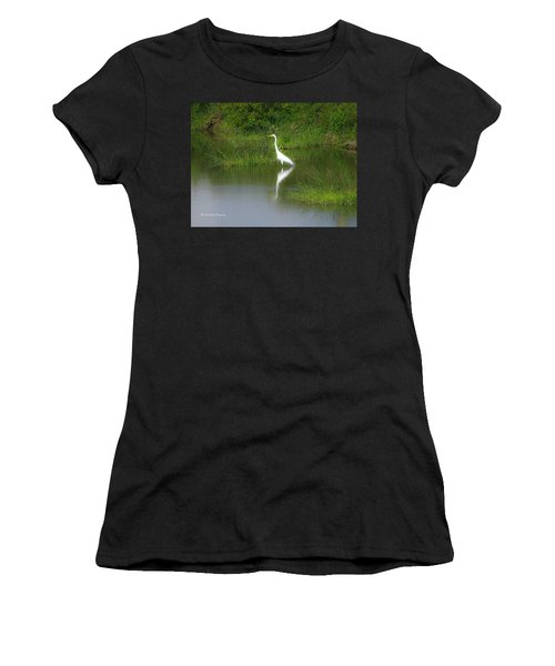 Great Egret By The Waters Edge Women's T-Shirt (Athletic Fit)