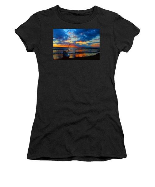 The Hawaiian Sailboat Women's T-Shirt (Junior Cut) by Michael Rucker