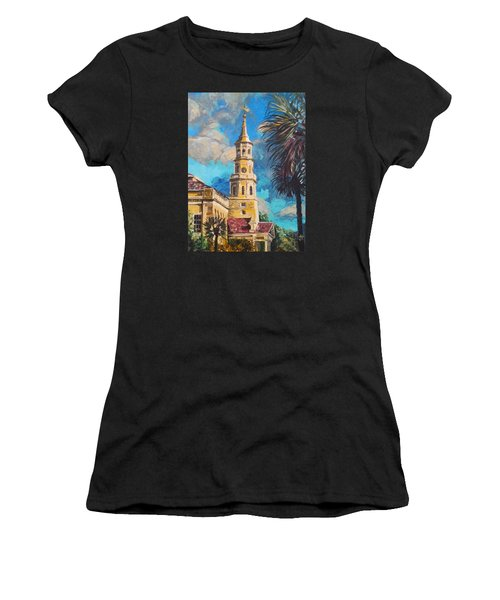 Women's T-Shirt featuring the painting The Heart Of Charleston by Jennifer Hotai