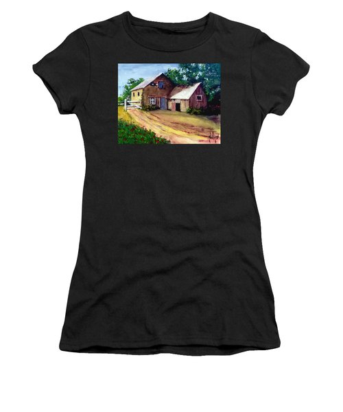 The House Barn Women's T-Shirt (Junior Cut) by Jim Phillips