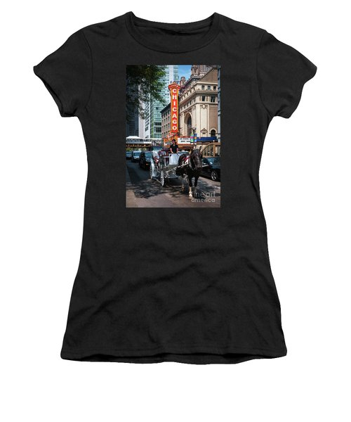 The Iconic Chicago Theater Sign And Traffic On State Street Women's T-Shirt