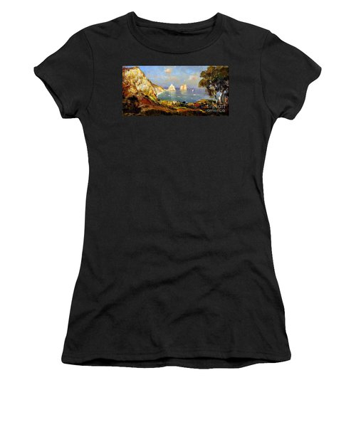 Women's T-Shirt featuring the painting The Island Of Capri And The Faraglioni by Rosario Piazza