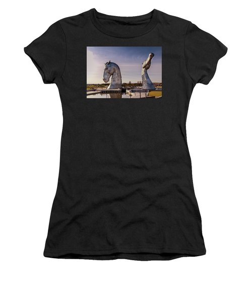Women's T-Shirt (Athletic Fit) featuring the photograph The Kelpies by RKAB Works