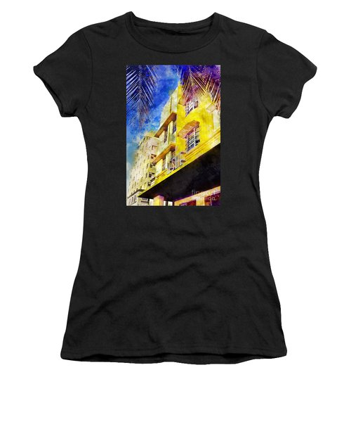 The Leslie Hotel South Beach Women's T-Shirt (Junior Cut) by Jon Neidert