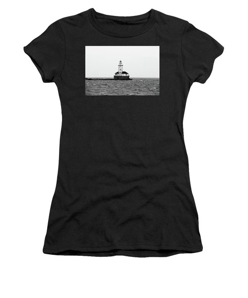 The Lighthouse Black And White Women's T-Shirt (Athletic Fit)