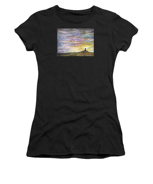 Women's T-Shirt featuring the digital art The Living Sky by Darren Cannell