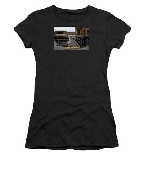 The Locks At Sault Ste Marie Michigan Women's T-Shirt (Junior Cut) by David Blank