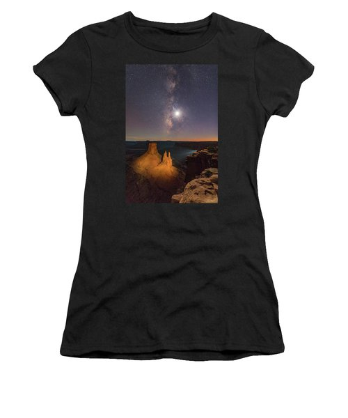 The Milky Way And The Moon From Marlboro Point Women's T-Shirt