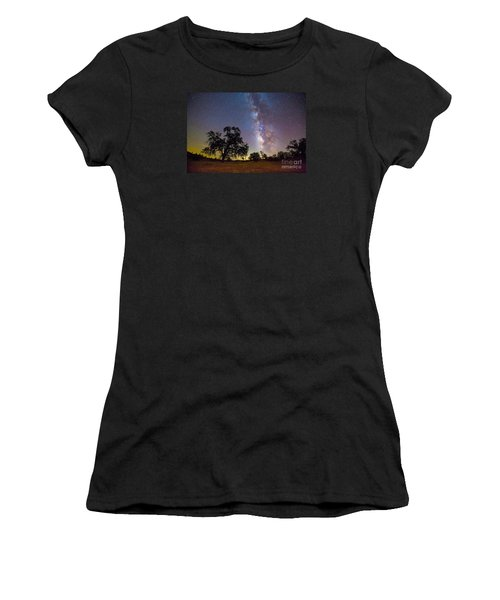 The Milky Way With One Perseid Meteor Women's T-Shirt (Athletic Fit)