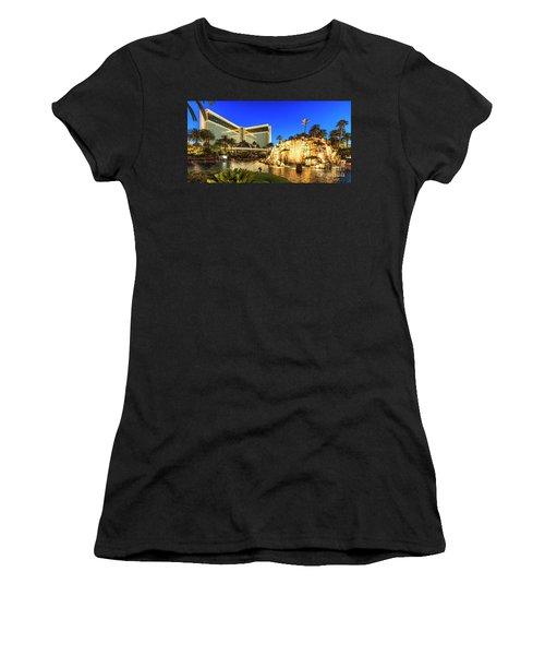 The Mirage Casino And Volcano At Dusk Women's T-Shirt (Athletic Fit)