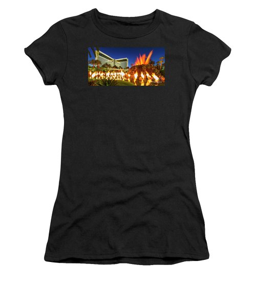 The Mirage Casino And Volcano Eruption At Dusk Women's T-Shirt (Athletic Fit)