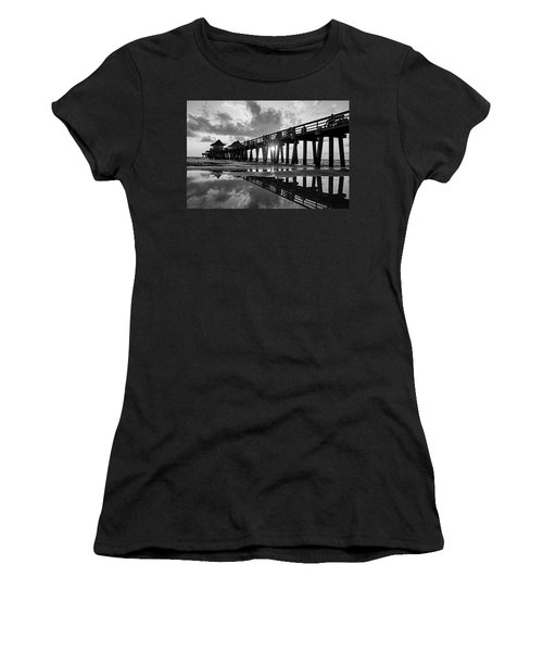 Naples Pier At Sunset Naples Florida Black And White Women's T-Shirt (Athletic Fit)