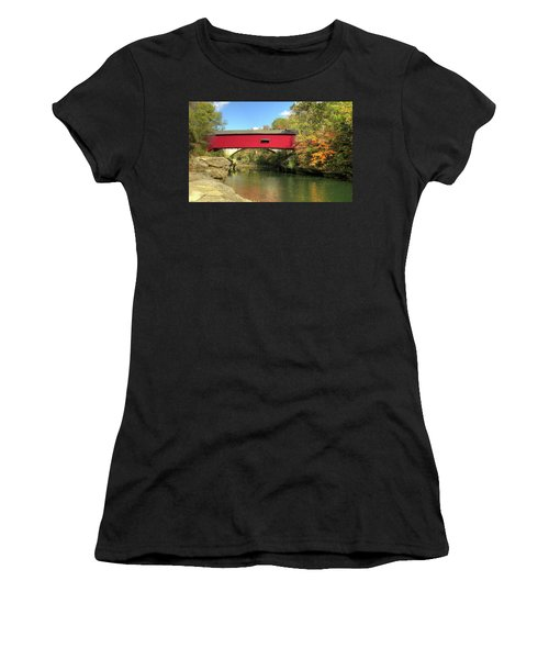 Women's T-Shirt (Junior Cut) featuring the photograph The Narrows Covered Bridge - Sideview by Harold Rau