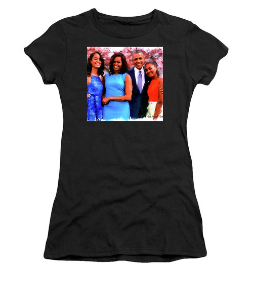 The Obama Family Women's T-Shirt (Junior Cut) by Ted Azriel
