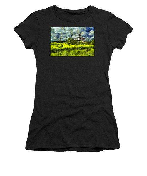 The Pink House In Salt Marsh-van Gogh Style Women's T-Shirt