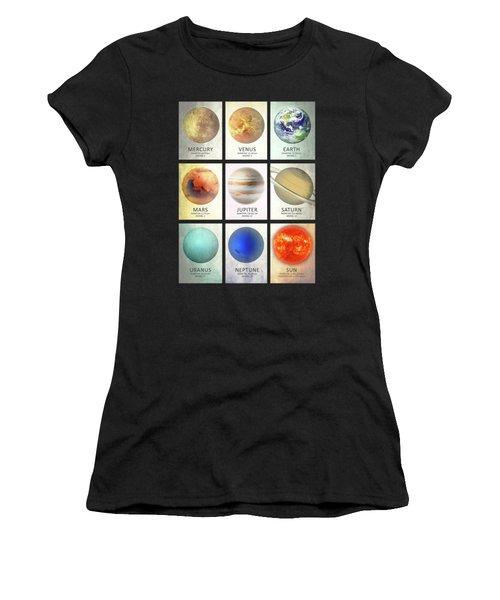 The Planets Women's T-Shirt (Junior Cut) by Mark Rogan