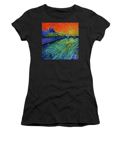 The Rhone River Palette Knife Oil Painting By Mona Edulesco Women's T-Shirt