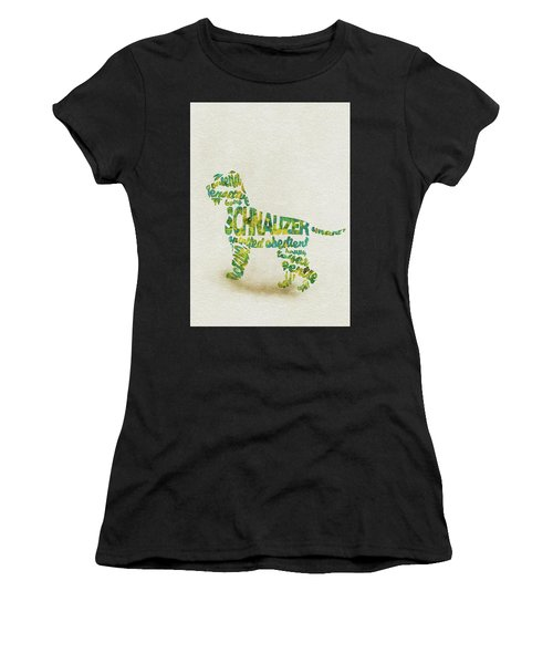 The Schnauzer Dog Watercolor Painting / Typographic Art Women's T-Shirt (Athletic Fit)