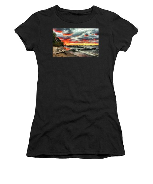 The Sky On Fire At Sunset On Lake Erie Women's T-Shirt
