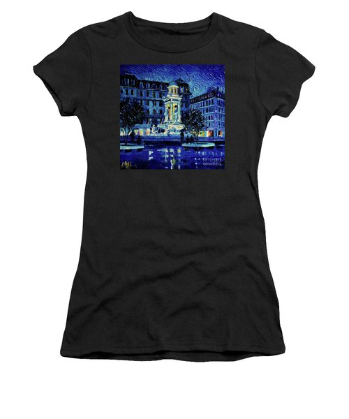 The Square Of Jacobins Illuminated - Lyon France - Modern Impressionist Palette Knife Painting Women's T-Shirt