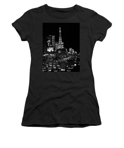 The Strip By Night B-w Women's T-Shirt