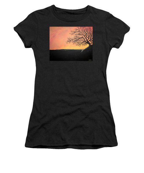 Women's T-Shirt (Junior Cut) featuring the painting The Sun Was Set by Antonio Romero