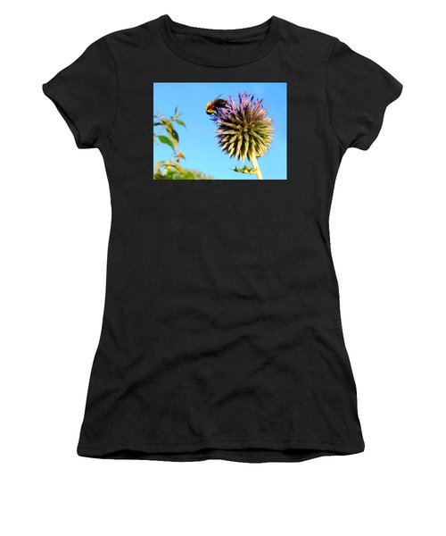 Women's T-Shirt (Athletic Fit) featuring the photograph The Thistle And The Bee. by Roger Bester