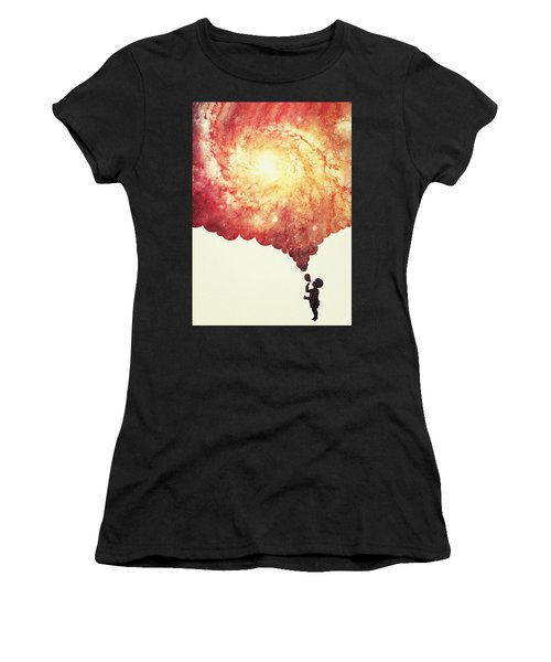 The Universe In A Soap Bubble Awesome Space Nebula Galaxy Negative Space Artwork Women's T-Shirt