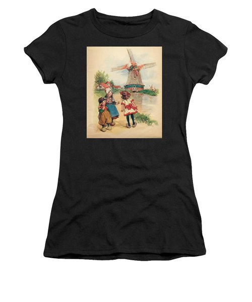 The Windmill And The Little Wooden Shoes Women's T-Shirt