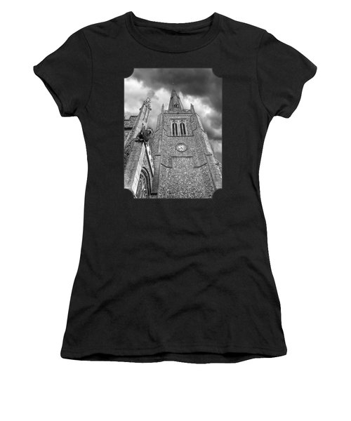 The Wrath Of God - Thaxted Church In Black And White Women's T-Shirt