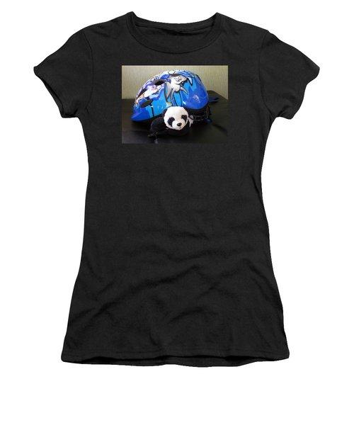 Women's T-Shirt (Junior Cut) featuring the photograph This Helmet Is So Heavy Ugh by Ausra Huntington nee Paulauskaite