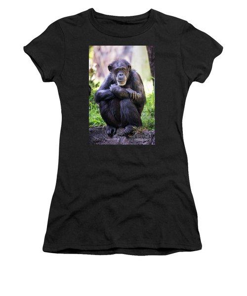 Thoughtful Chimpanzee  Women's T-Shirt (Athletic Fit)