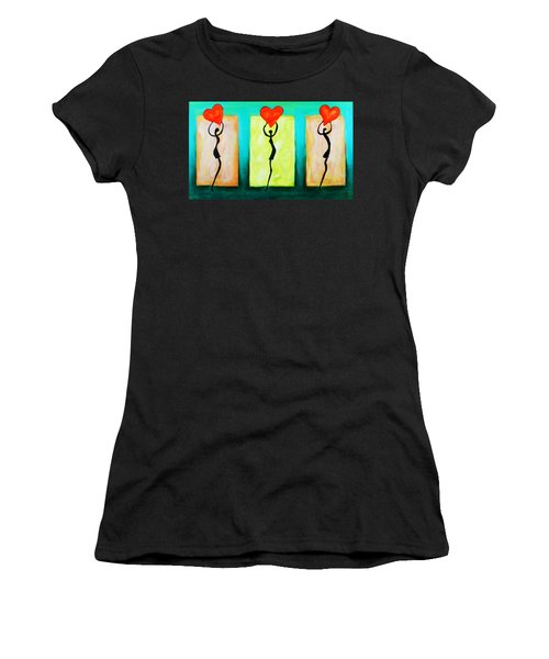 Three Abstract Figures With Hearts Women's T-Shirt