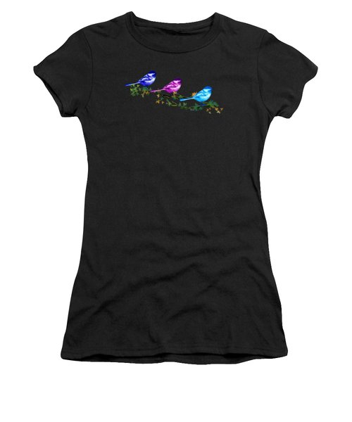 Three Chickadees Women's T-Shirt (Athletic Fit)