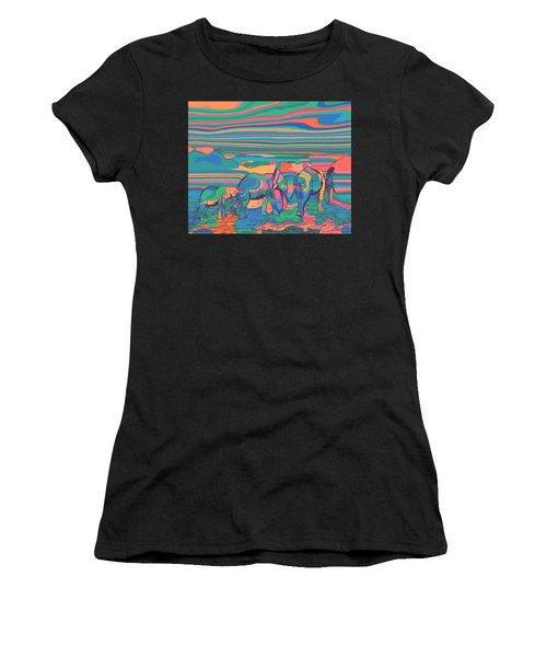 Three Elephants Walking  Women's T-Shirt (Athletic Fit)