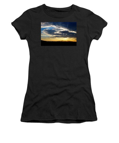 Three Peak Sunset Swirl Skyscape Women's T-Shirt (Junior Cut) by Matt Harang