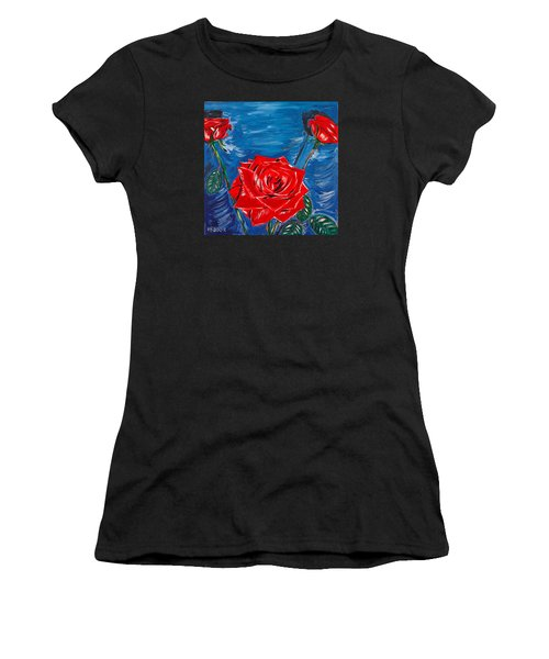 Three Red Roses Four Leaves Women's T-Shirt (Athletic Fit)