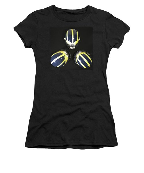 Three Striped Wolverine Helmets Women's T-Shirt (Athletic Fit)