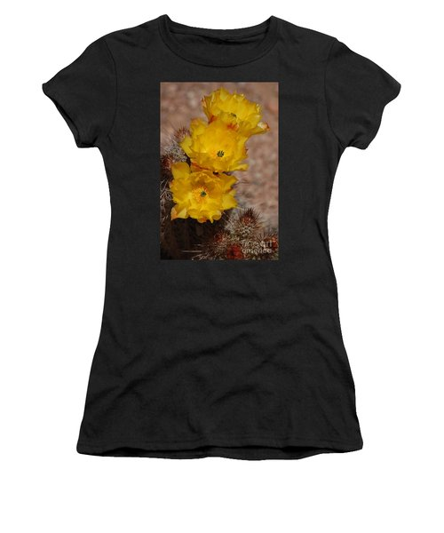 Three Yellow Cactus Flowers Women's T-Shirt (Athletic Fit)