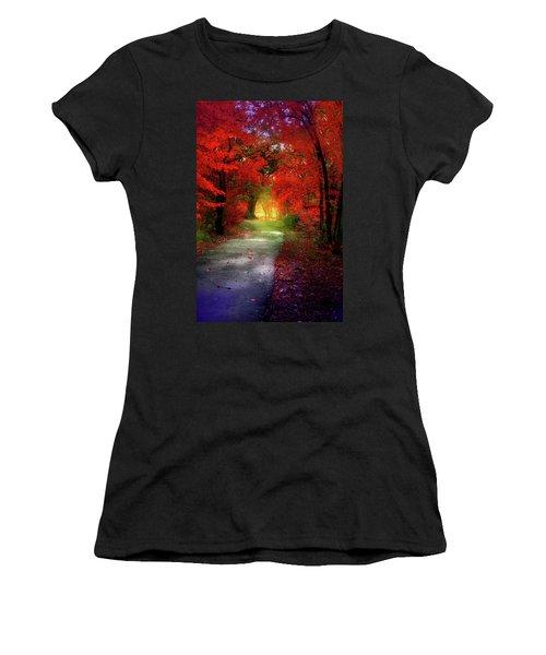 Through The Crimson Leaves To A Golden Beginning Women's T-Shirt