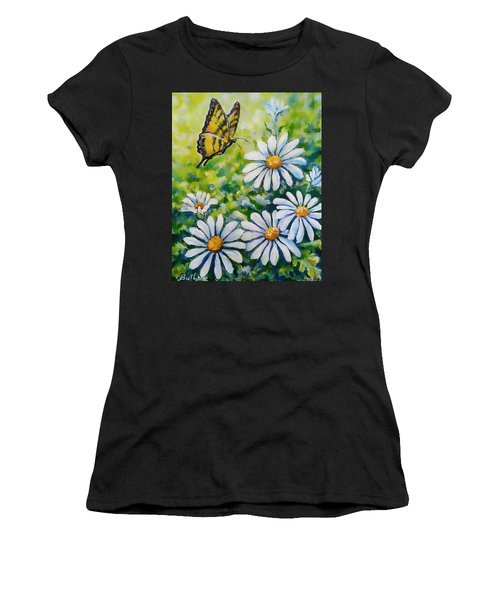 Tiger And Daisies  Women's T-Shirt (Athletic Fit)