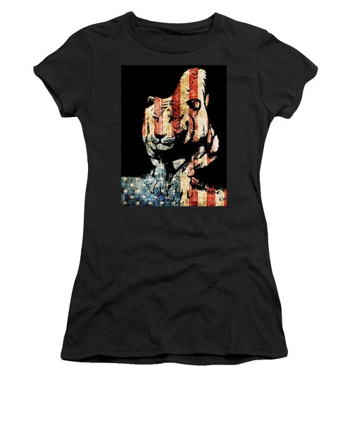 Women's T-Shirt (Junior Cut) featuring the drawing Tiger Collage #9 by Kim Gauge