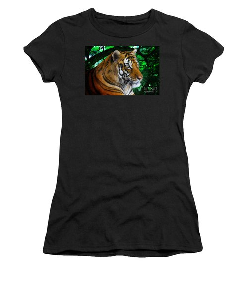 Tiger Contemplation Women's T-Shirt (Athletic Fit)