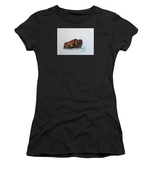 Tired Bison Women's T-Shirt (Athletic Fit)